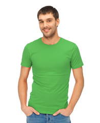 handsome man in green shirt