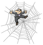 Cartoon Business man in Spider web.