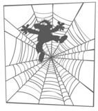 Silhouette drawing of a man in spider web.
