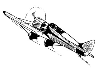 Small airplane in flight. Vintage style vector illustration.