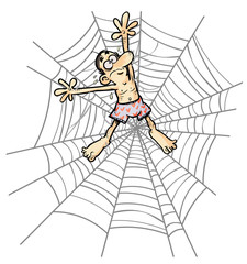 Cartoon Man wearing underpants in Spider web.