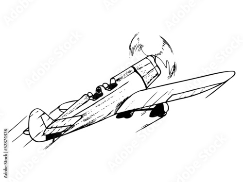 Acrobatic airplane in flight. Vintage style vector illustration.