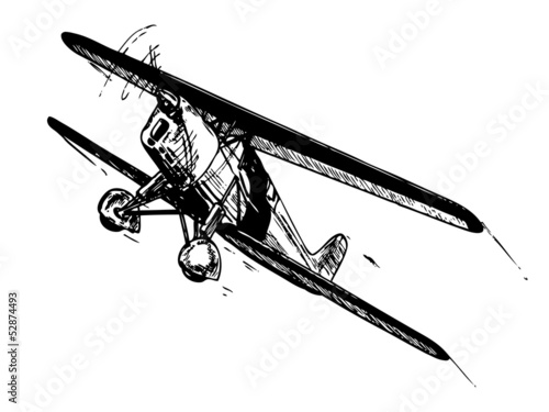 Biplane aircraft in flight. Vintage style vector illustration.