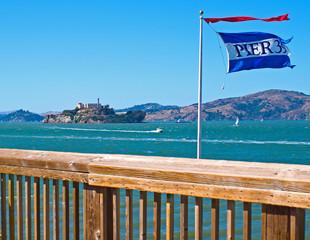Alcatraz Island from Pier 39 in San Francisco California USA