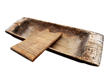 old wooden trough and washboard on a white