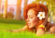 Woman enjoying summer nature