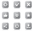 Set of rounded square internet icons with reflection