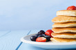 Stacked Pancakes and Fruit