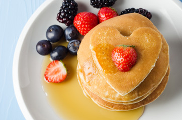 Fruity Heart Topped Pancakes