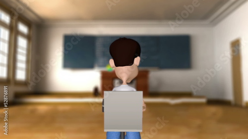 Animated Student in Classroom Raising Hand