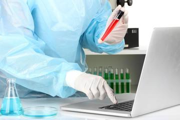 Scientist entering data