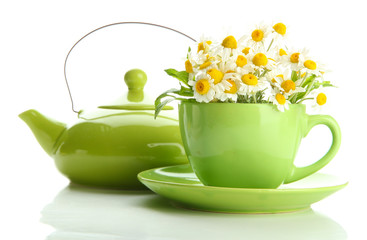 Beautiful wild camomiles and mint in cup and teapot, isolated