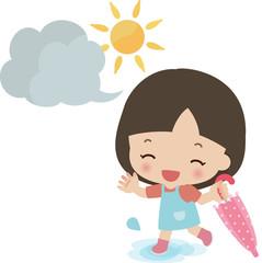 雨上がりにはしゃぐ小さな女の子