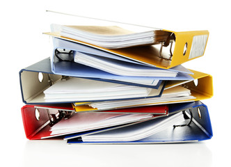 Bright office folders isolated on white