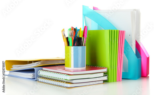 Bright different stationery isolated on white