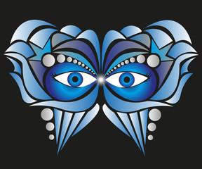 maschera astratta blu su sfondo nero
