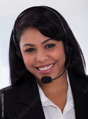 Happy Female Customer Representative