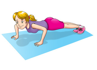 Cartoon illustration of a woman doing push up