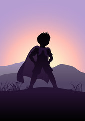 Silhouette illustration of a kid pretending as a superhero