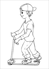 Outline illustration of a boy with kick scooter