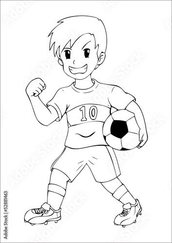 Outline illustration of a boy holding a soccer ball