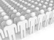 Array of white abstract people. Crowd concept illustration