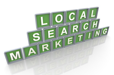 3d render of buzzword 'local search marketing'
