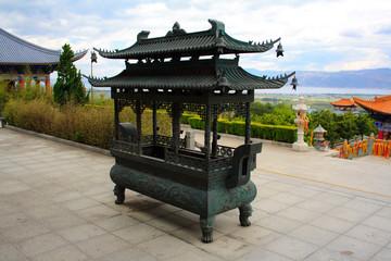 In a Buddhist temple. Dali. China.