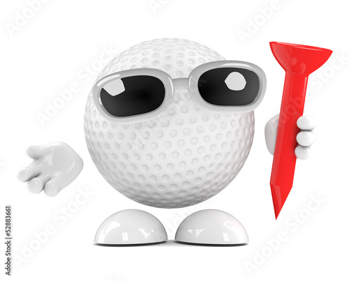Golfball is preparing to tee off