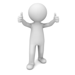 3d man showing thumbs up over white background