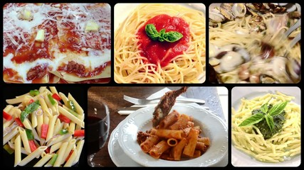 italian pasta dishes, collage