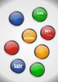 Set of colorful buttons, offers