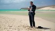 Businessman taking photo by cellphone on the beach