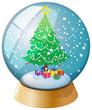 A crystal ball with a Christmas tree