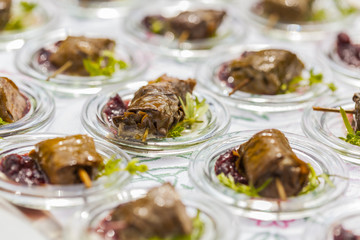 dolmades / stuffed vineleaves with deer and red chutney