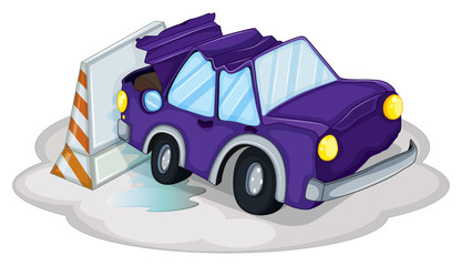 A violet car bumping the traffic cone