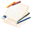 A paper with crayons and pencils
