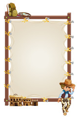 An empty frame banner with a cowboy and saloon bars