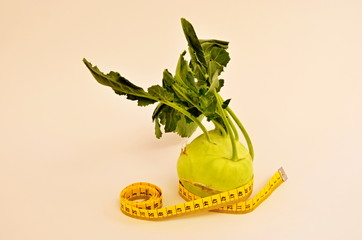 Kohlrabi and measuring tape