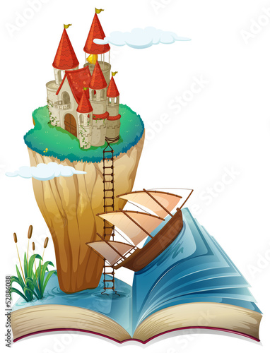 A book with a castle at the top of a cliff