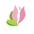 Woman body silhouette in  pink flower bud-vector beauty sign