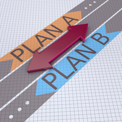 Arrows with plan A plan B