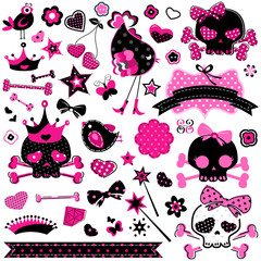 girlish pink and black cute skulls and other elements