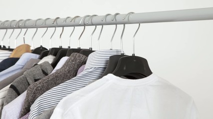 Clothes on rack, closeup