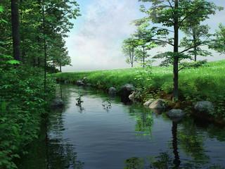 Wiosenny krajobraz z rzeką i lasem
