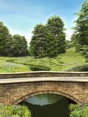 Most nad rzeką wśród łąk
