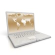 3D professional Laptop isolated on white with worldmap.
