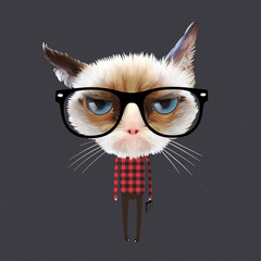 Funny cartoon cat, vector Eps10 illustration.