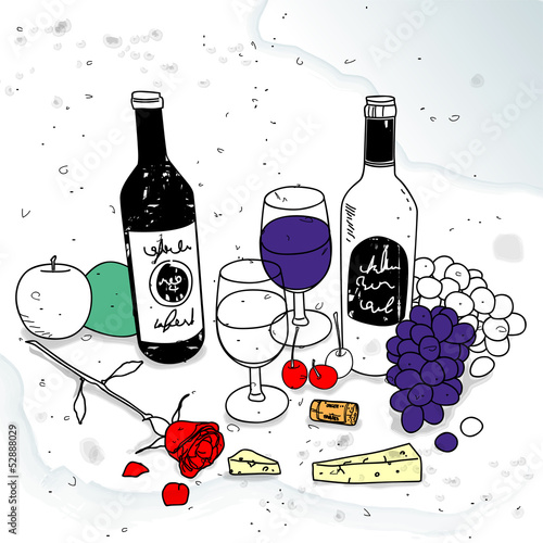 still life with wine - 52888029