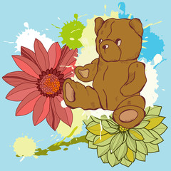 Vector illustration of flowers and a bear